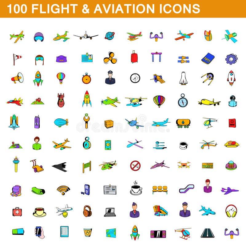100 vlucht en luchtvaart geplaatste pictogrammen, beeldverhaalstijl royalty-vrije illustratie