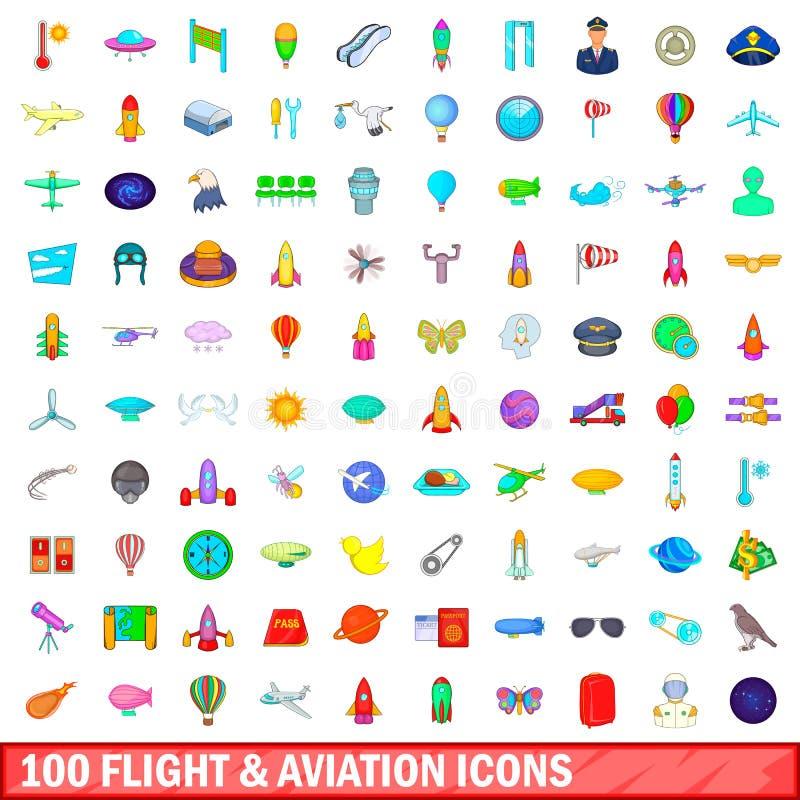 100 vlucht en luchtvaart geplaatste pictogrammen, beeldverhaalstijl vector illustratie
