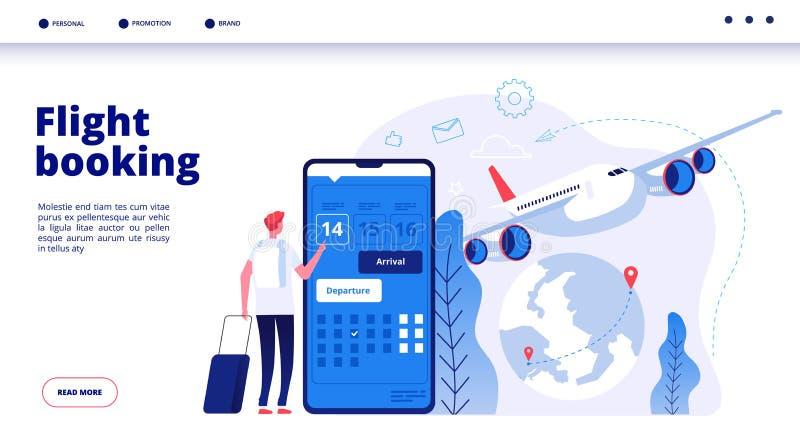 Vlucht het boeken Het online begrotingsreis boeken in Internet-de vakantie van de de reservevakantie van vliegtuigvluchten het ve royalty-vrije illustratie