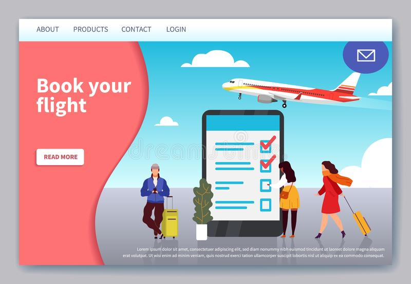 Vlucht het reizende landen Mobiele toepassingwebpagina voor van het boeken van en het kopen van kaartje op de vectorwebsite van d royalty-vrije illustratie