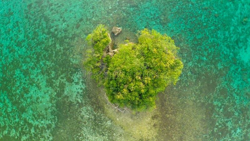 Vlucht over het eenzame kleine eiland van de kust van Filippijnse dorpen Anda royalty-vrije stock foto's