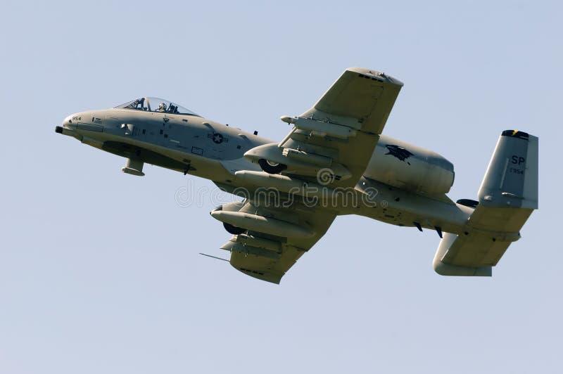 Vlucht van a-10 Blikseminslag II geschraapt RC-model bij Sloveens model airshow royalty-vrije stock fotografie