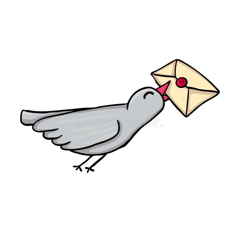 Vlucht van een duif stock illustratie