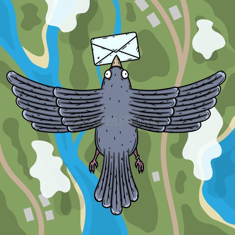 Vlucht van een duif Duifbrievenbesteller met een brief in zijn bek Hoogste mening royalty-vrije illustratie