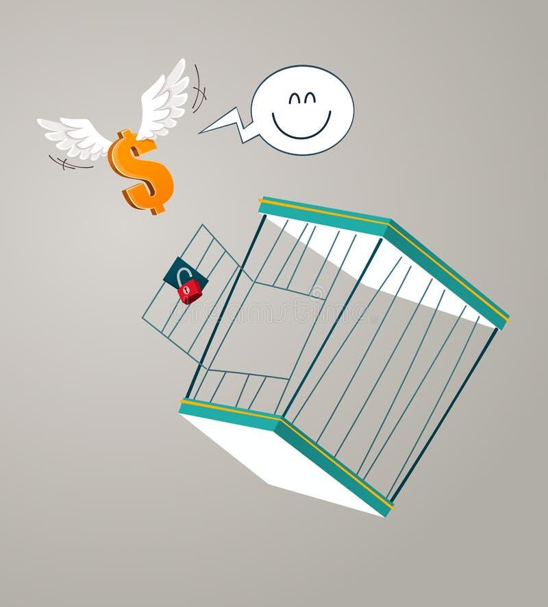 Vlucht van een kooi royalty-vrije illustratie