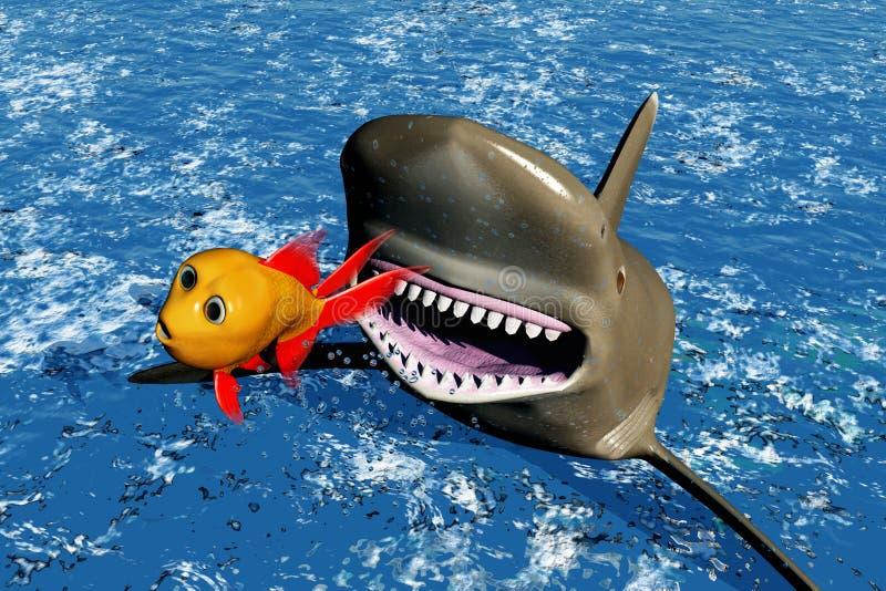 Vlucht van haai stock illustratie