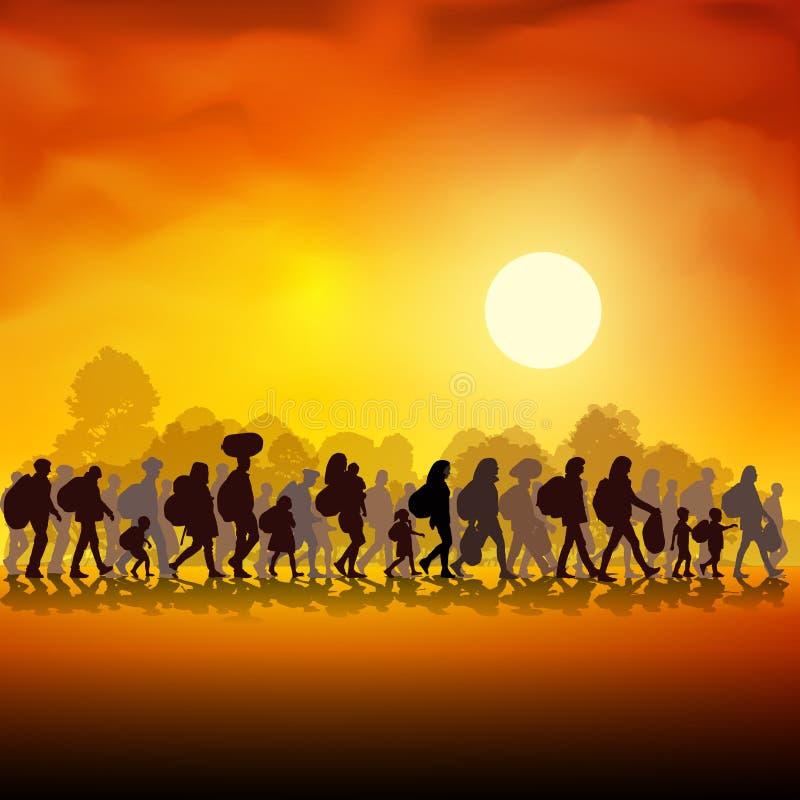 vluchtelingen stock illustratie
