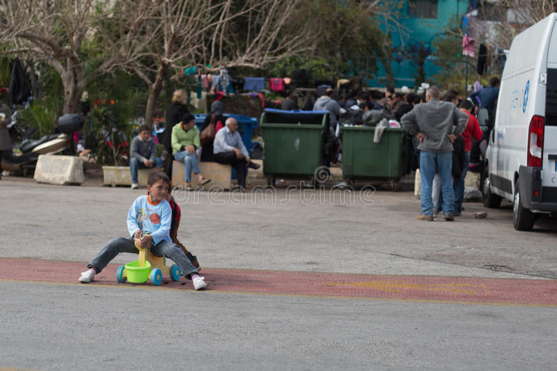 vluchtelingen stock foto