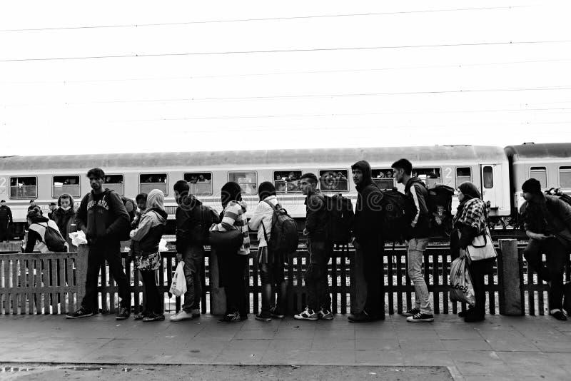 vluchtelingen die Hongarije verlaten stock afbeelding