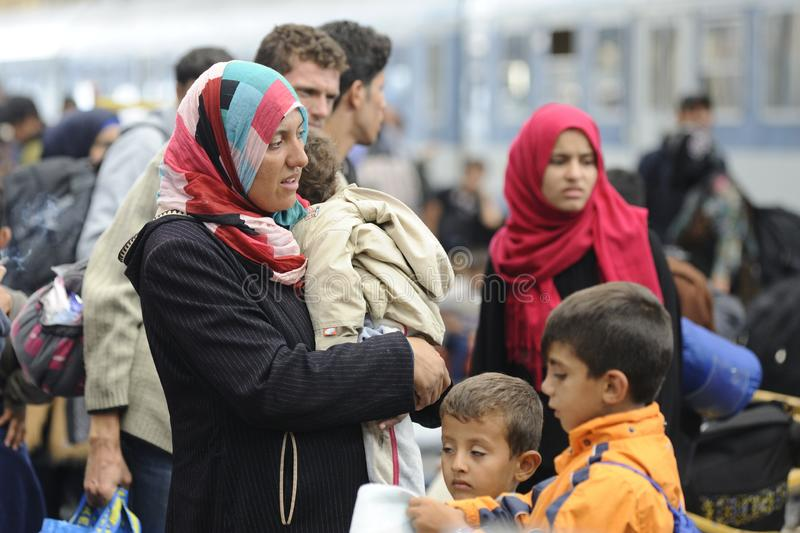 Vluchtelingen in Hongarije royalty-vrije stock afbeeldingen