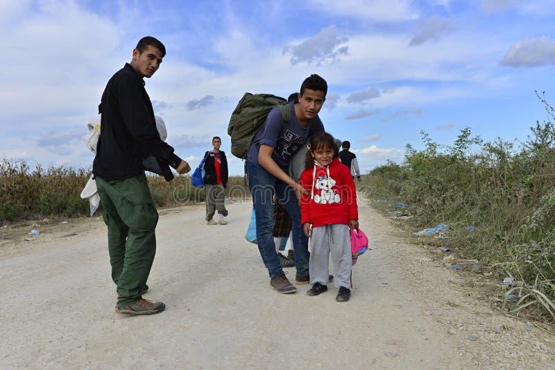 Vluchtelingen in Sid (de grens van Serviër - Croatina-) royalty-vrije stock fotografie