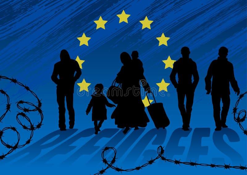 Vluchtelingenmannen en vrouwen met kinderen Vrouw die, geladen met zware zakken en kinderen blootvoets lopen De mensen gaan daarn stock illustratie