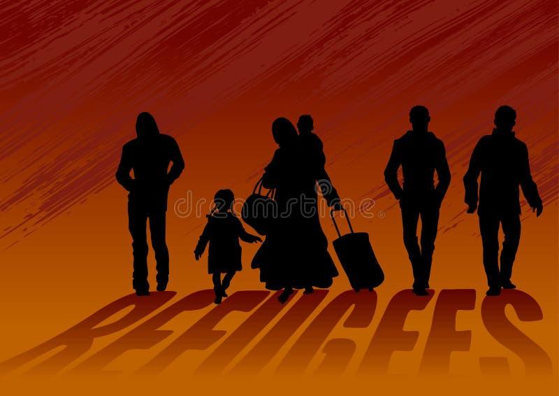 Vluchtelingenmannen en vrouwen met kinderen Vrouw die, geladen met zware zakken en kinderen blootvoets lopen De mensen gaan daarn vector illustratie