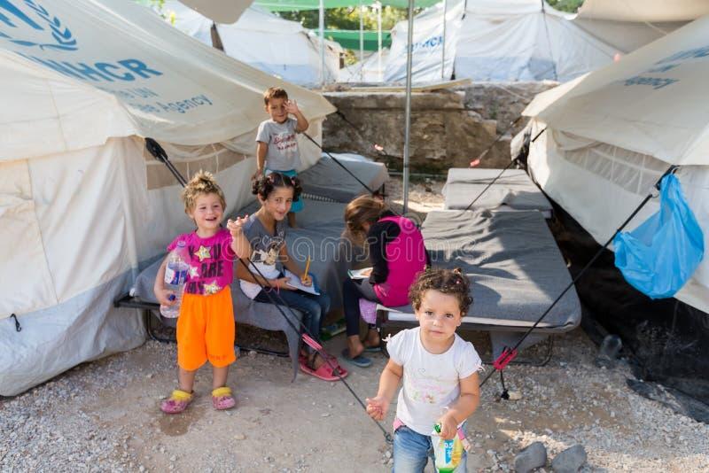 Vluchtelingskamp van Lagadikia, Griekenland stock afbeelding