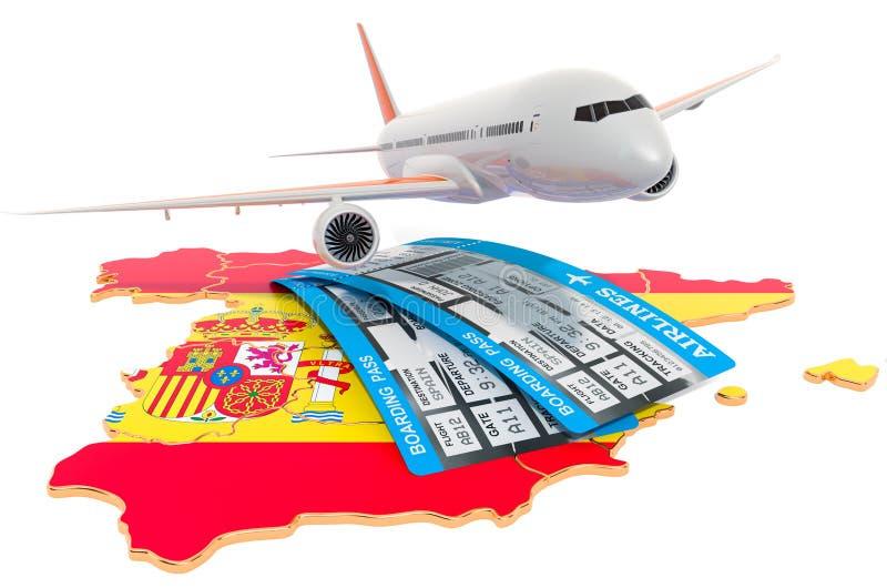 Vluchten aan het concept van Spanje het 3d teruggeven vector illustratie