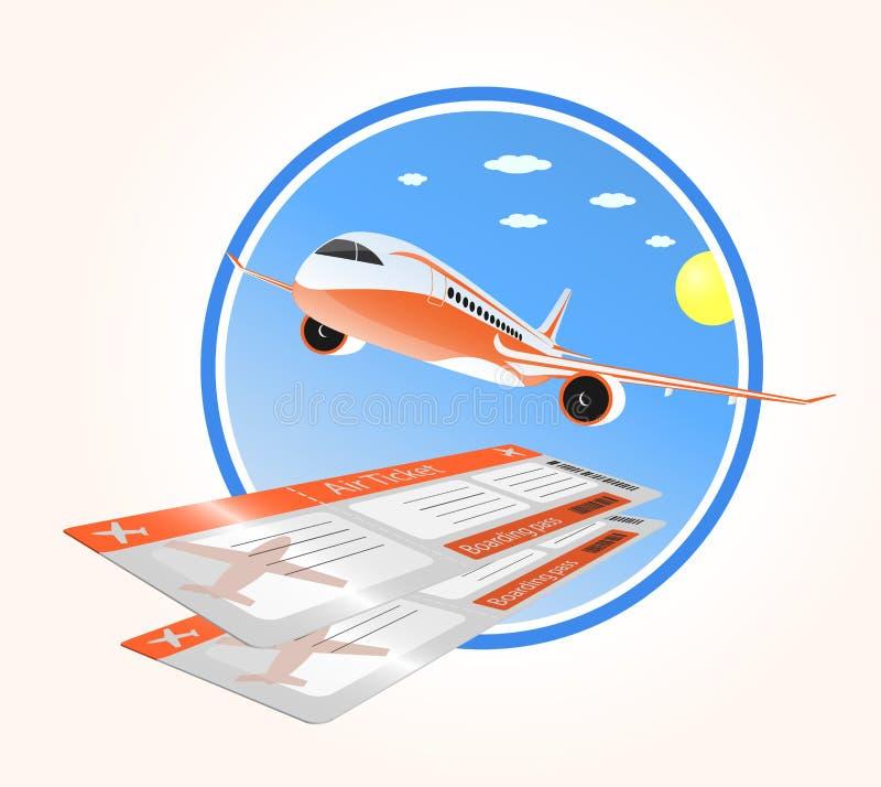 Vluchten aan vakantie en luchtkaartje vector illustratie