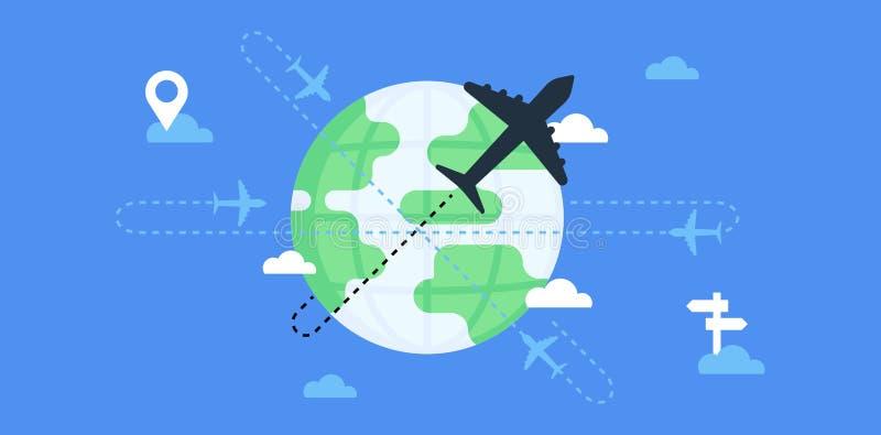Vluchten en het reizen rond de wereld stock illustratie