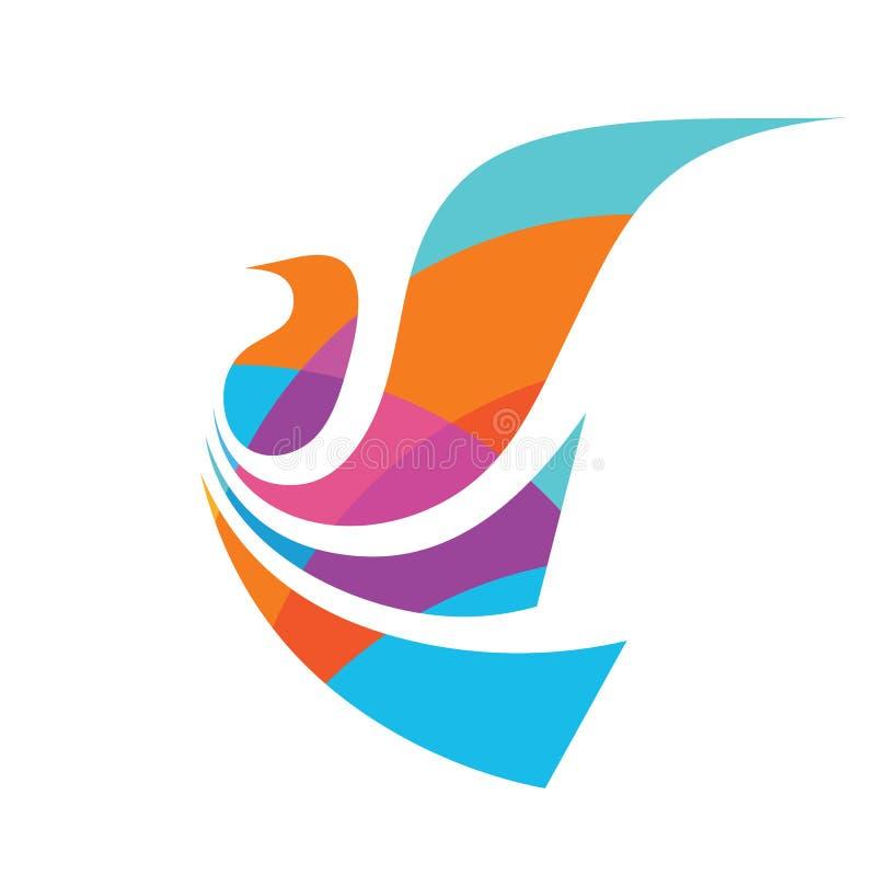 Vluchtvogel - het malplaatje vectorillustratie van het conceptenembleem Abstract vleugels creatief teken Duif kleurrijk symbool G vector illustratie