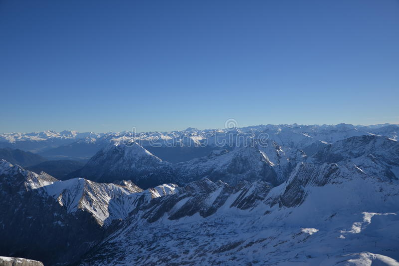 Vlue sky, high mountains stock photography
