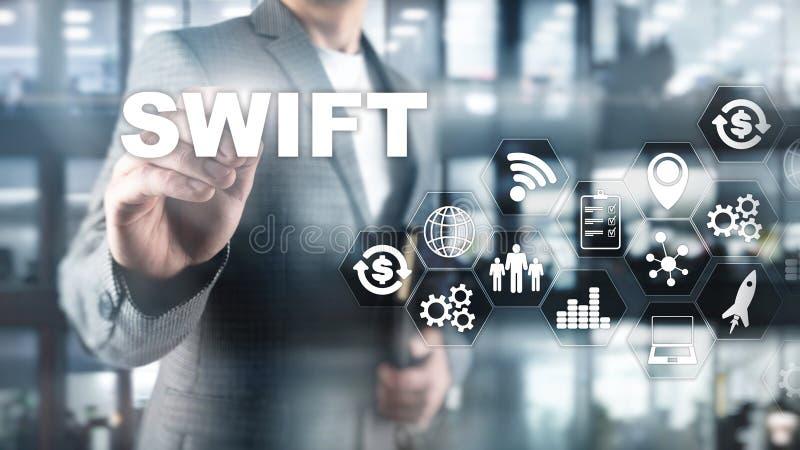 vlug De maatschappij voor Financiële Telecommunicaties Tussen banken Wereldwijd Internationale betaling Bedrijfs achtergrond royalty-vrije illustratie