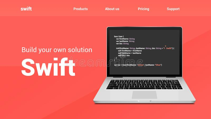 Vlugge de technologiebanner van de programmeringscode Vlug van de de codageontwikkeling van de taalsoftware de websiteontwerp stock illustratie