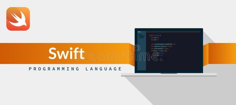 Vlugge programmeertaal voor iOS, MAC OS van appel met manuscriptcode inzake laptop het scherm, de illustratie van de programmeert stock illustratie