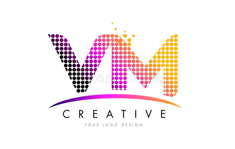 VM V M Letter Logo Design with Magenta Dots and Swoosh. VM V M Dots Letter Logo Design with Magenta Bubble Circles and Swoosh stock illustration