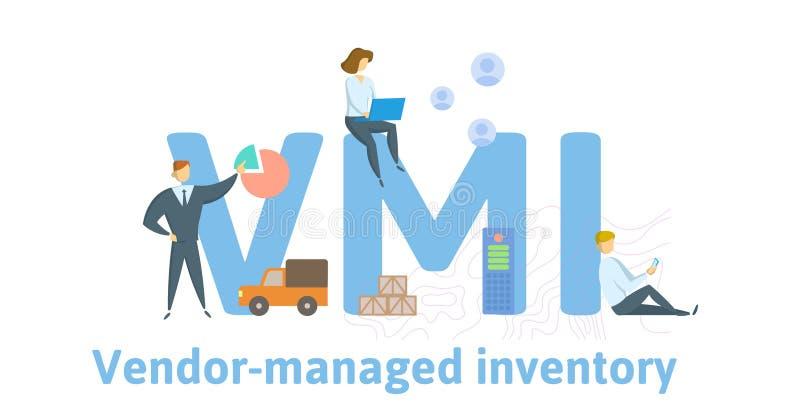 VMI, διοικούμενος προμηθευτής κατάλογος Έννοια με τις λέξεις κλειδιά, τους ανθρώπους και τα εικονίδια r r απεικόνιση αποθεμάτων