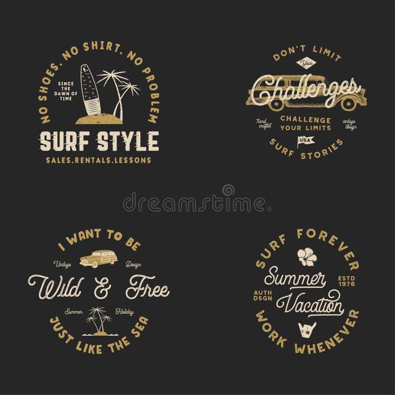 Vntage手拉的冲浪的图表和象征网络设计或印刷品的 冲浪者略写法 海浪商标 夏天海浪商标 向量例证