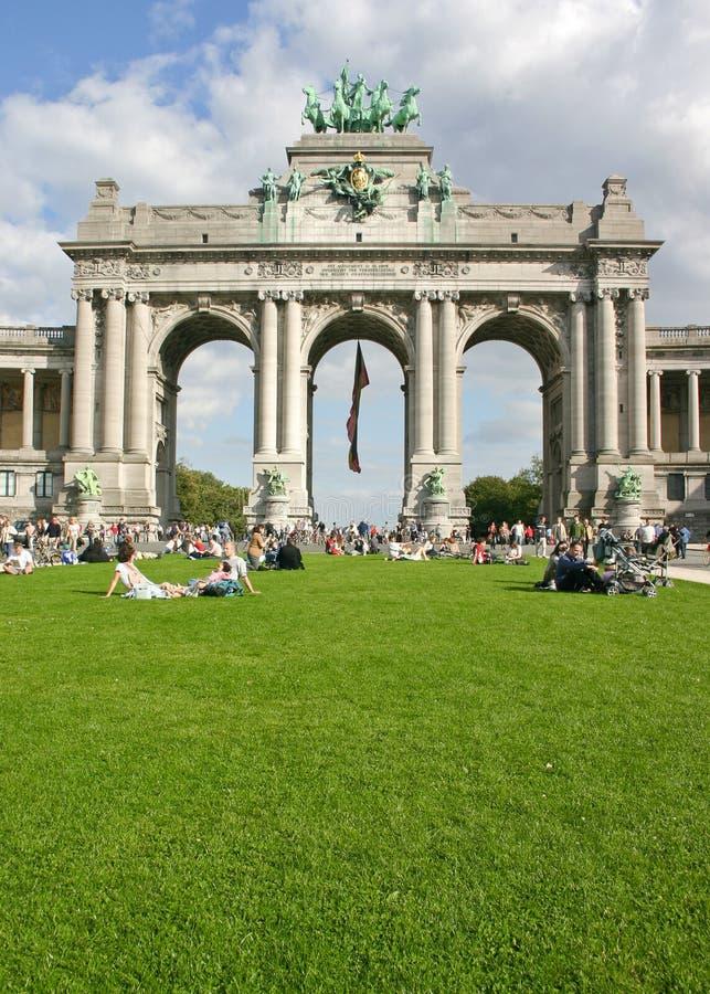 Voûte du triomphe du ciquantième, Bruxels images stock