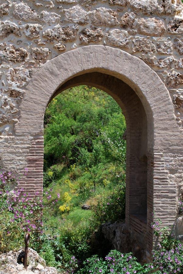 Voûte en pierre en gorge avec de jolies fleurs de ressort dans le premier plan, Ronda, Espagne images stock