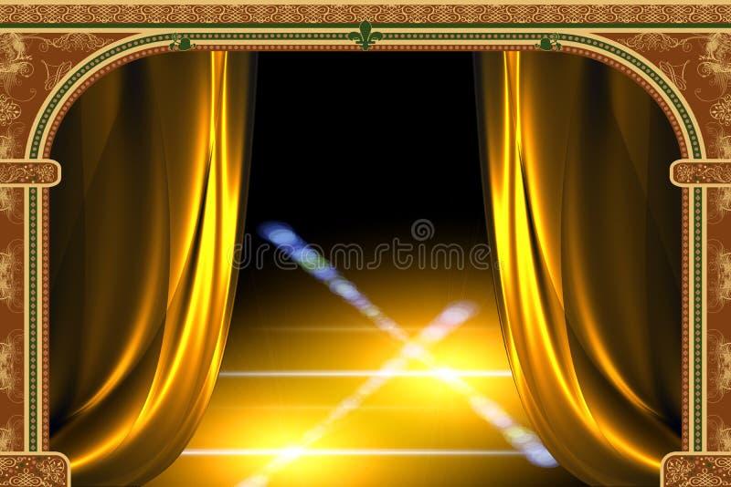 Voûte, rideau et la lumière illustration stock