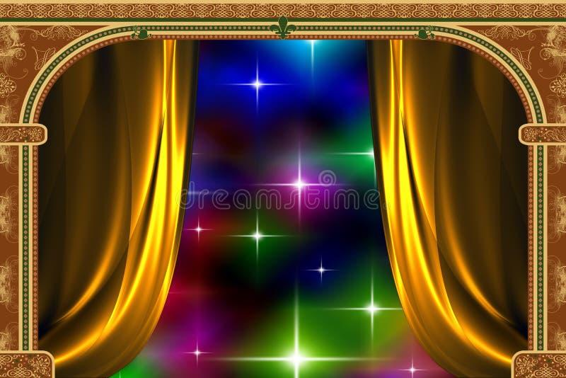Voûte, rideau et la lumière illustration de vecteur