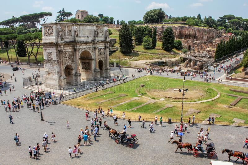 Voûte Rome, Italie - juin, 3 de Constantine images stock