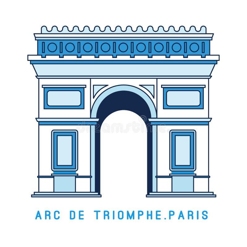Voûte triomphale de schéma, Arc de Triomphe, Paris, monument célèbre européen, illustration de vecteur dans le style plat illustration stock