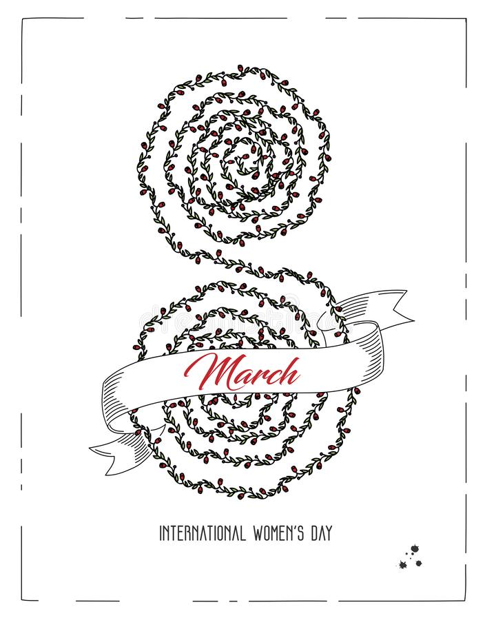 8vo de la postal de marzo con el nember hecho de flores libre illustration
