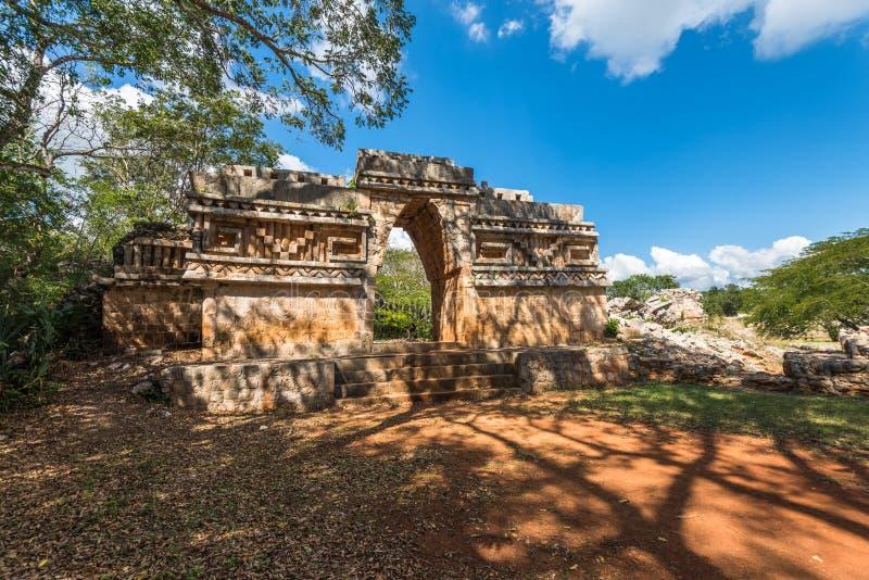 Voûte antique aux ruines maya de Labna, Yucatan, Mexique images libres de droits