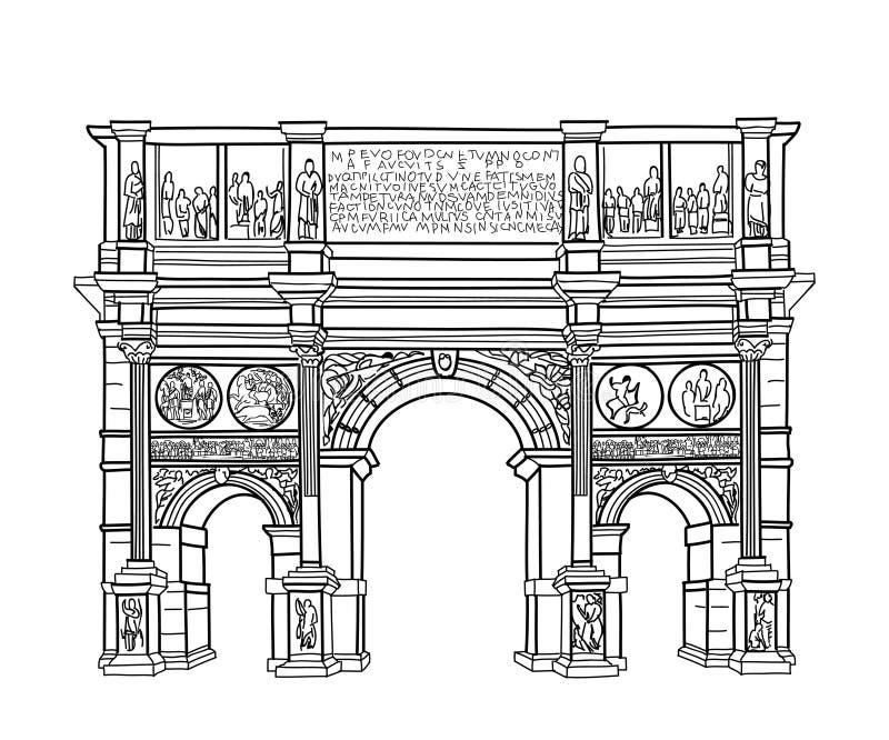 Voûte d'isolement La voûte de Constantin de point de repère de Rome illustration libre de droits