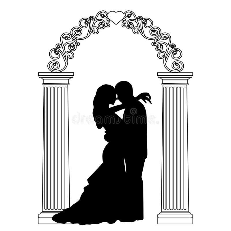 Voûte de mariage avec des jeunes mariés illustration libre de droits