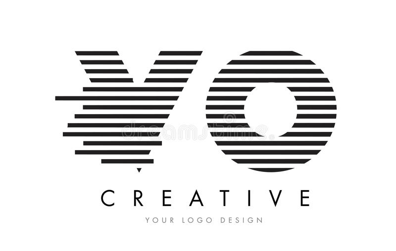 VO V O Zebra Letter Logo Design with Black and White Stripes royalty free illustration