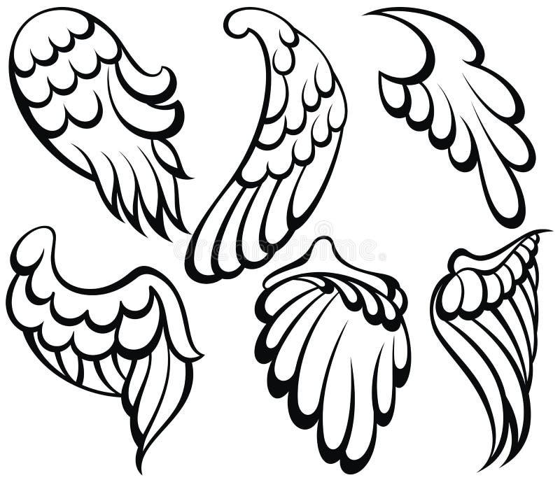 Voa o ícone Coleção dos desenhos animados das asas ilustração stock