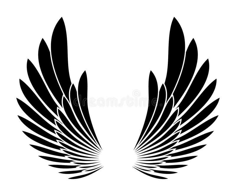 Voa o elemento preto do projeto do templete da tatuagem da silhueta ilustração do vetor