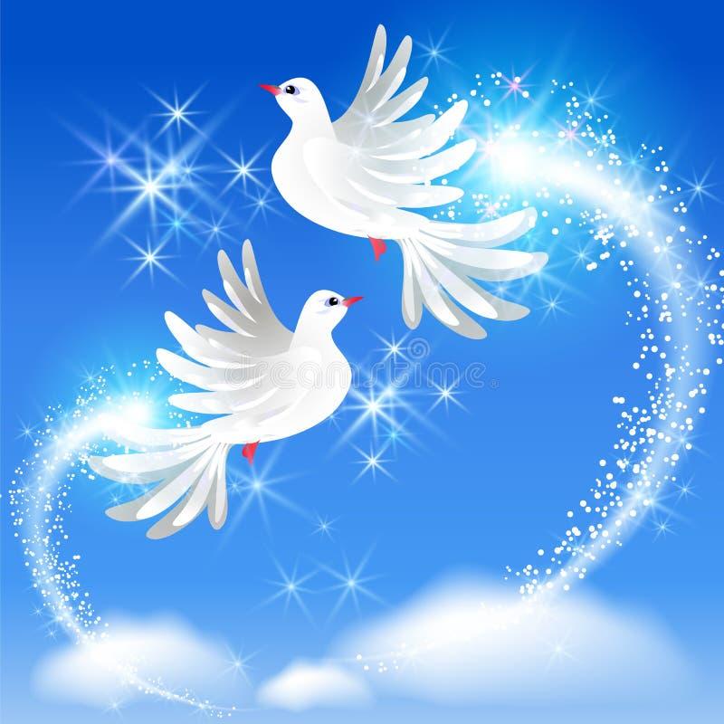 Voando duas pombas e a saudação efervescente ilustração do vetor