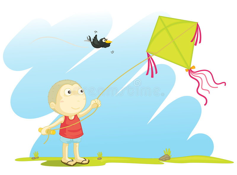 Voando um papagaio ilustração stock