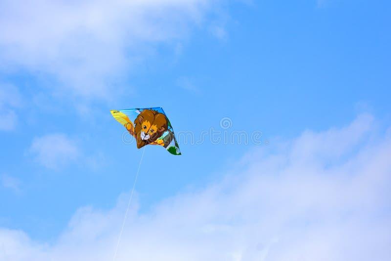 Voando um papagaio em um céu azul e nebuloso fotos de stock