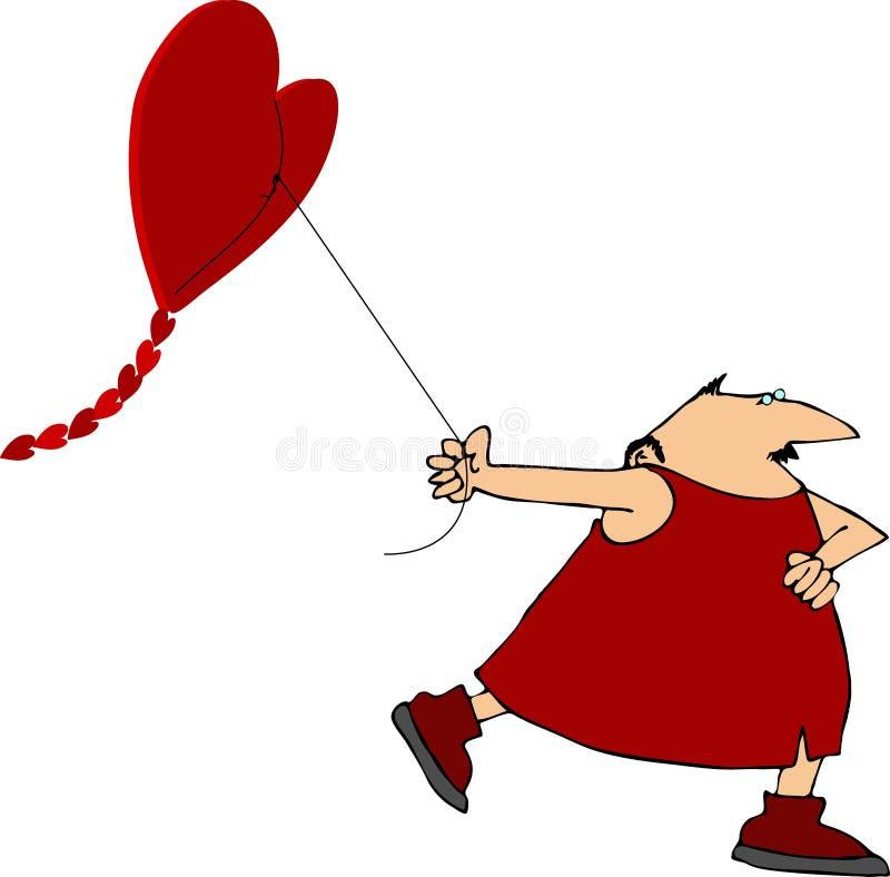 Voando um papagaio heart-shaped ilustração stock