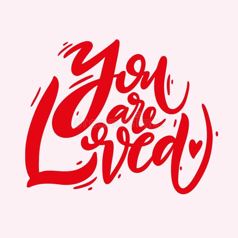 Você é amado Frase para o dia do ` s do Valentim Caligrafia moderna da escova Isolado no fundo cor-de-rosa ilustração do vetor
