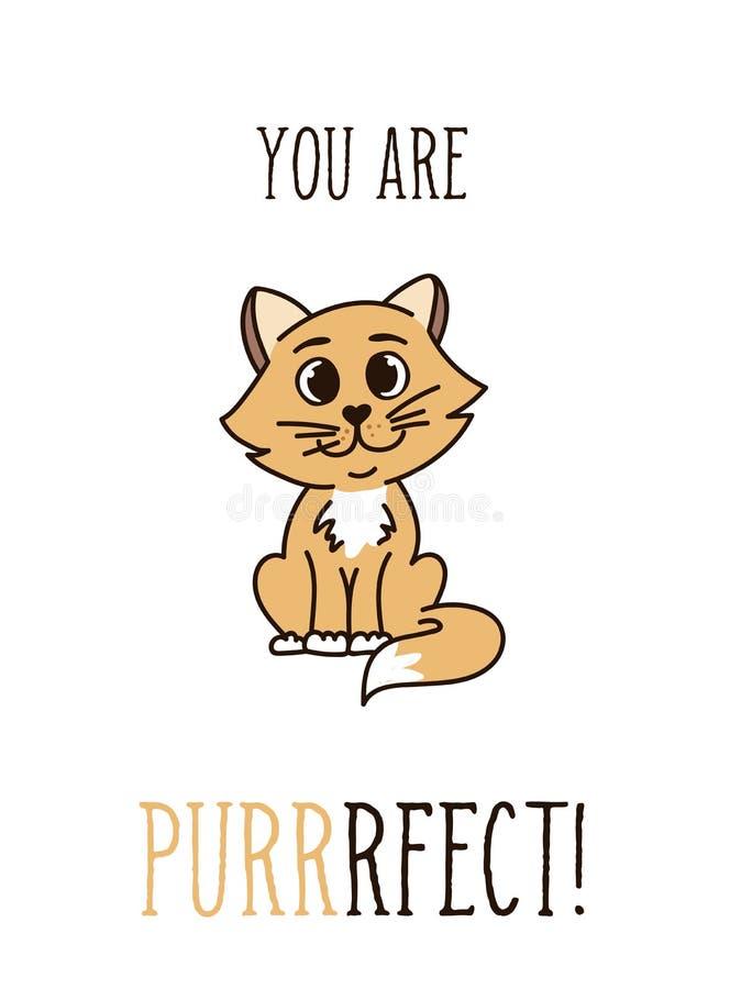 Você é citações inspiradas perfeitas com o gato de cabelo vermelho bonito Mo ilustração royalty free