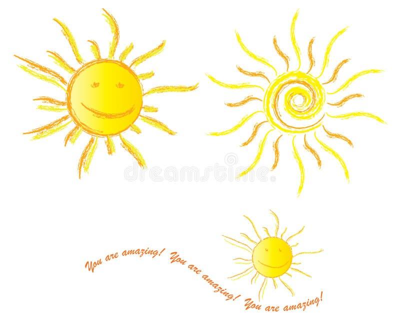Você é colagem feliz surpreendente de Sun ilustração stock