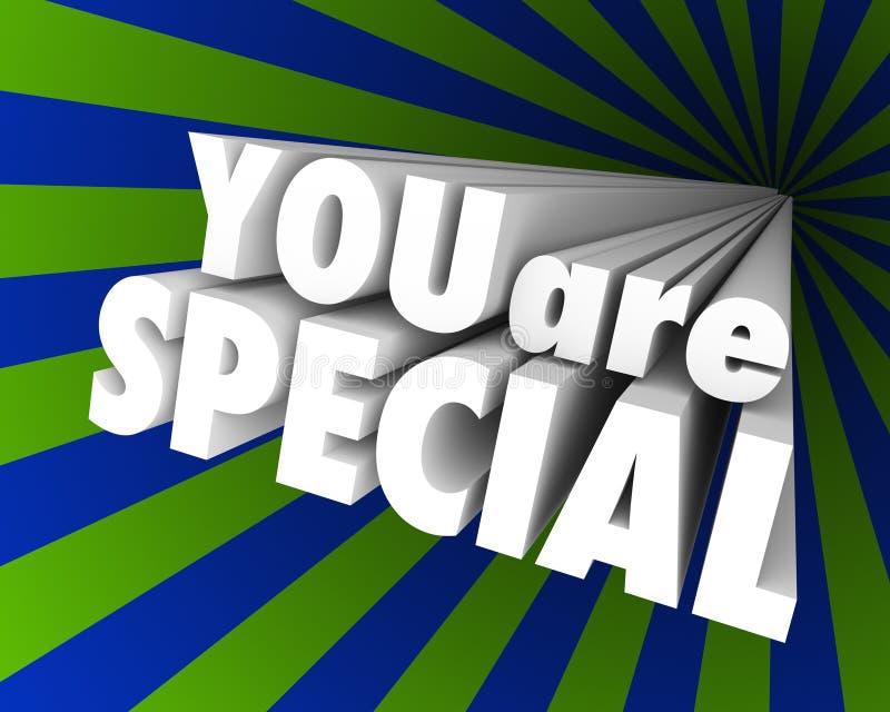 Você é excepcional diferente original das palavras 3D especiais ilustração royalty free